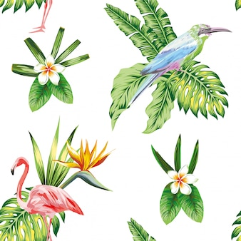 Papel pintado inconsútil del modelo con las flores y las plantas tropicales del pájaro