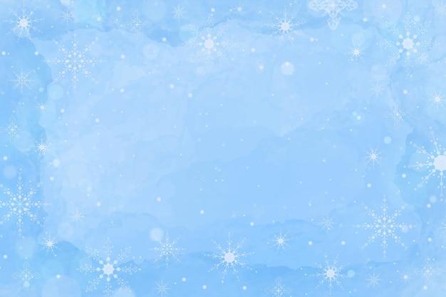 Papel pintado de invierno en acuarela azul