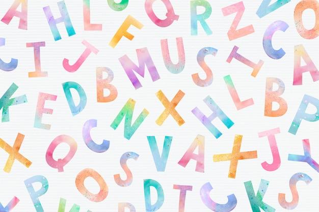 Papel pintado con letras inglesas en acuarela con diseño lúdico