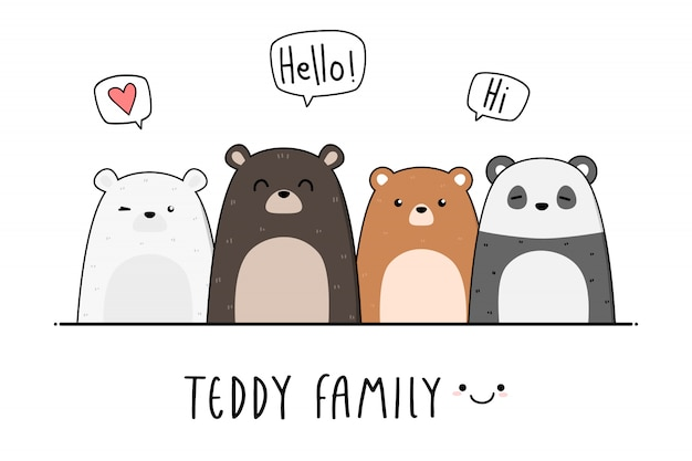 Papel pintado lindo del doodle de la historieta de la familia del oso de peluche