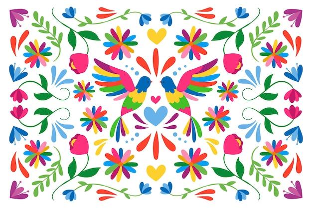 Papel pintado mexicano colorido plano con pájaros