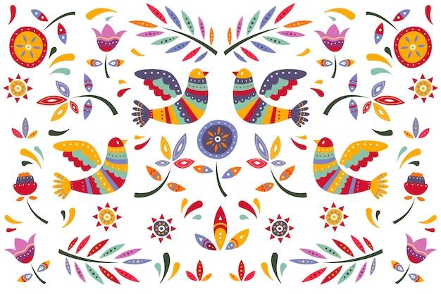 Papel pintado mexicano colorido plano