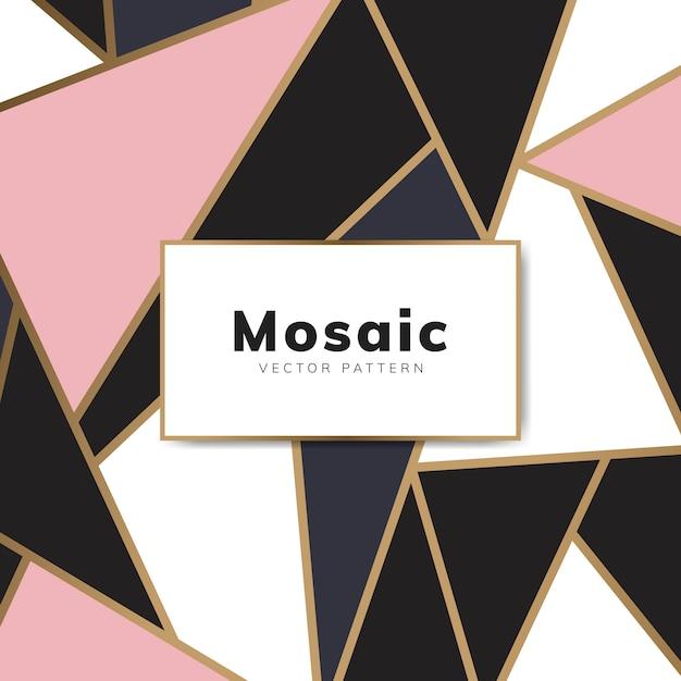 Papel pintado moderno de mosaico en oro rosa, oro y negro