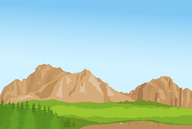 Papel pintado con montañas de verano y florest.