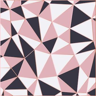 Papel pintado mosaico en oro rosa y negro