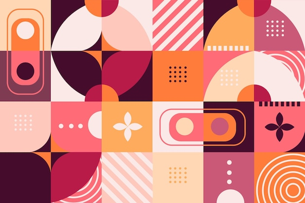 Papel pintado mural geométrico en tonos rosa y naranja