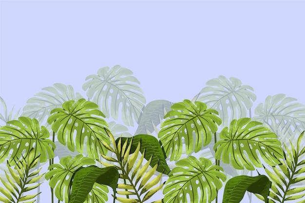 Papel pintado mural hojas tropicales