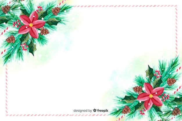 Papel pintado de navidad de acuarela con flores