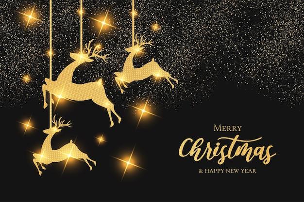 Papel pintado navideño moderno con marco dorado de renos navideños