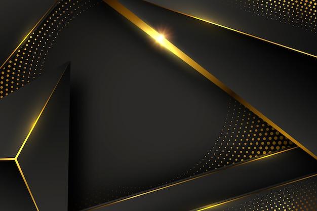 Papel pintado negro con formas y elementos dorados.