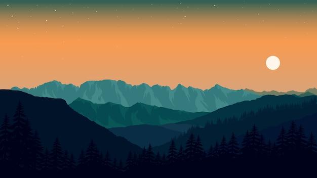 Papel pintado del paisaje en diseño plano