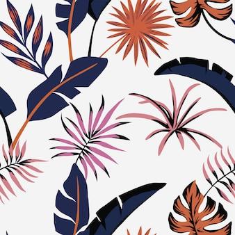 Papel pintado de patrones sin fisuras de color de hojas tropicales