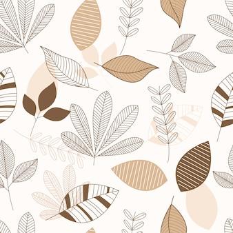 Papel pintado de patrones sin fisuras de hojas tropicales