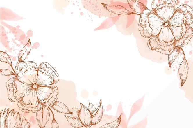 Papel pintado pintado a mano con elementos florales dibujados a mano