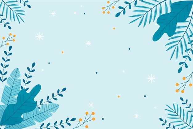 Papel pintado plano de invierno con plantas