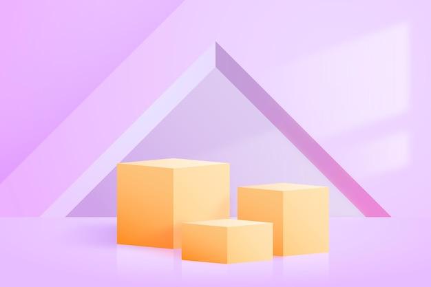 Papel pintado de podio con formas geométricas 3d
