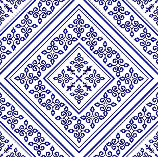 Papel pintado de porcelana en estilo barroco, floreros de damasco, florales azules y blancos, adornos florales, decoración sencilla, vector de azulejos de cerámica sin costuras, diseño de máquina china