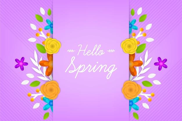 Papel pintado de primavera realista en estilo papel