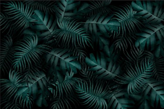 Papel pintado realista monocromático de hojas tropicales