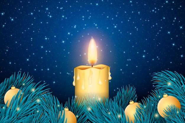 Papel pintado realista de velas de navidad