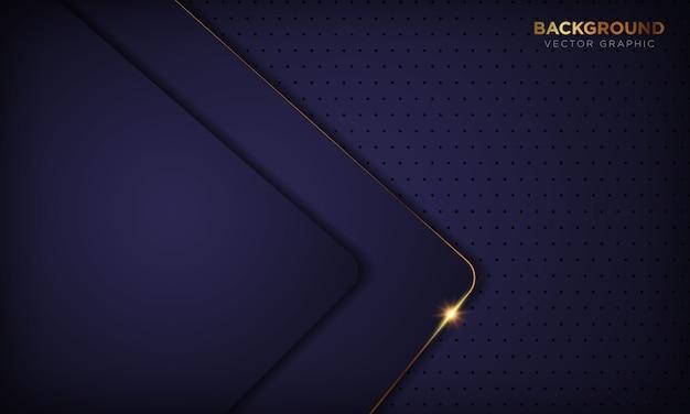 El papel púrpura abstracto de lujo oscuro forma el fondo con la decoración de la línea de oro. textura con luz dorada brillante.