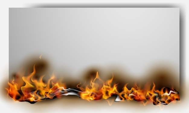 Papel quemado ardiente al rojo vivo provoca llamas de fuego realistas