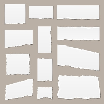 Papel rasgado blanco. trozos de papel rasgado. pedazos de papel aislados. tiras de papel rasgadas