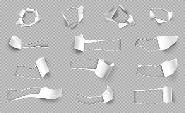 Papel rasgado con bordes de diferente forma realista transparente conjunto aislado