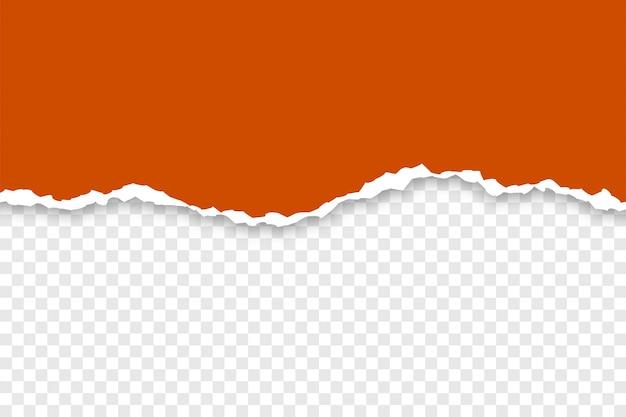 Papel rasgado de browen sobre fondo transparente