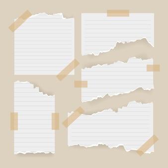 Papel rasgado creativo con paquete de cinta