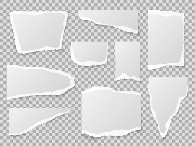 Papel rasgado. diferentes formas de recortes de papel, hojas de notas con textura
