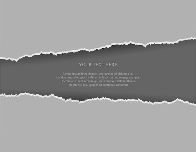 Papel rasgado realista en gris