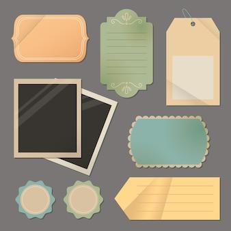 Papel rasgado vintage y etiquetas con fotos en blanco