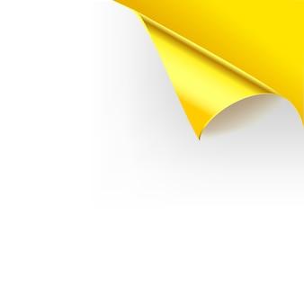 Papel rizado página brillante esquinas pliegues. plantilla de ilustración para póster de color amarillo