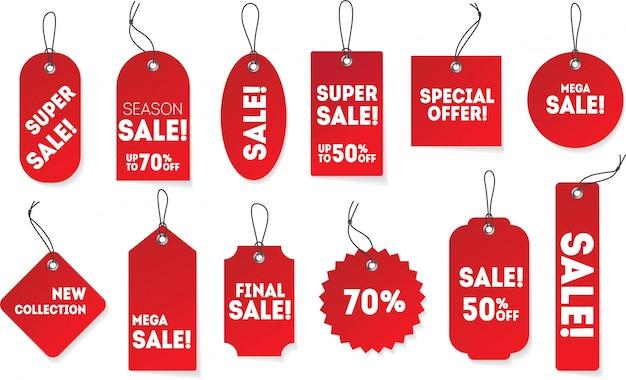 Papel rojo realista colgando etiquetas en diferentes formas. etiqueta de precio con oferta especial, super venta, nueva colección. plantilla de promoción de signo de descuento.