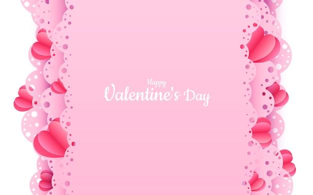 Papel de san valentín cortado banner rosa