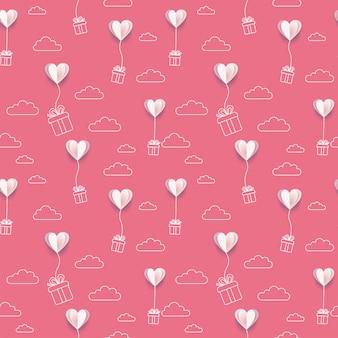 Papel de san valentín pone corazones globos con cajas de regalo de arte lineal y fondo de nubes