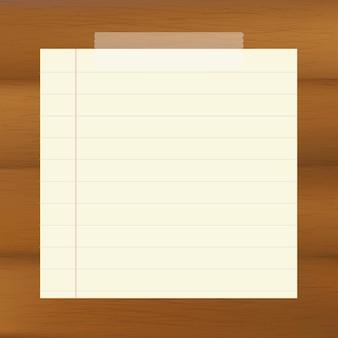 Papel sobre fondo marrón de madera, ilustración