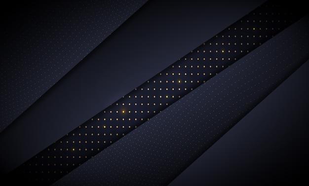 Papel tapiz de capas de papel azul oscuro con detalles dorados brillantes