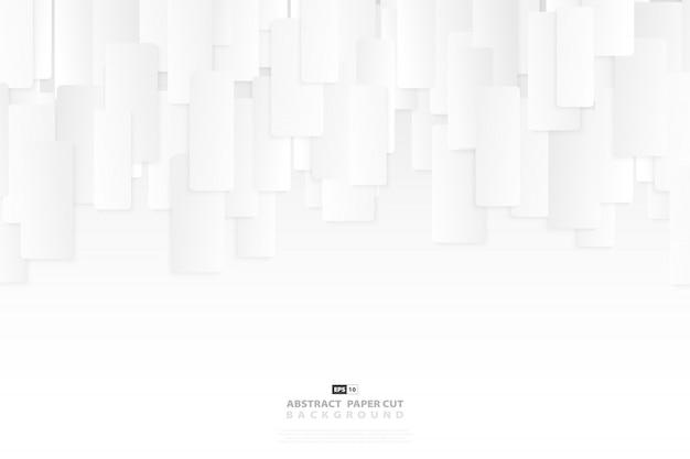 Papel tapiz de diseño de patrón cuadrado abstracto blanco y gris papel cortado decoración de diseño