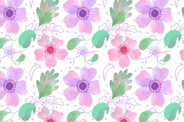 Papel tapiz floral en diseño acuarela