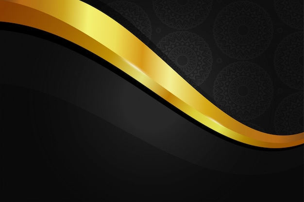 Papel tapiz de fondo dorado elegante con patrón transparente mandala en color oro negro