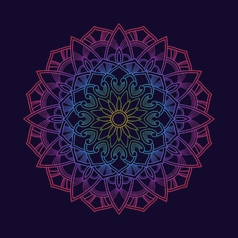 Papel tapiz de fondo de patrón de mandala colorido degradado. motivo floral en color neón. tejido textil arabesco. o. textil tejido.