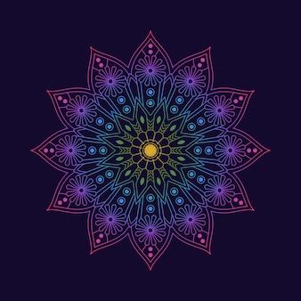 Papel tapiz de fondo de patrón de mandala colorido degradado. motivo floral en color neón. textil tejido arabesco.