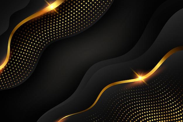 Papel tapiz oscuro con formas y elementos dorados.