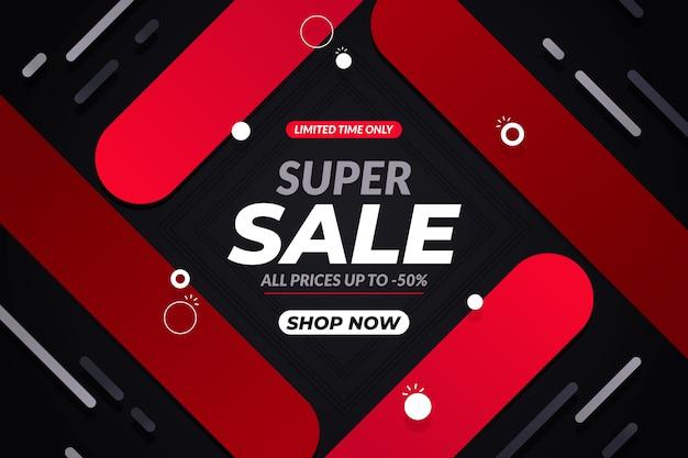 Papel tapiz oscuro de ventas con formas rojas abstractas