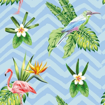 Papel tapiz de patrones sin fisuras con composición de flores de aves tropicales y plantas en zigzag azul