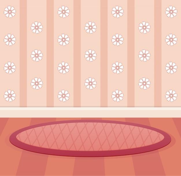 Papel tapiz y suelo color melocotón diseño de sala.