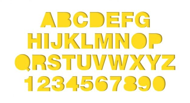 El papel del vector del arte cortó la fuente amarilla de las formas. alfabeto de tipografía