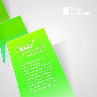 Papel verde doblado con plantilla de texto de muestra